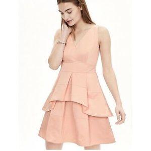 peach pink taffeta v-neck a line dress